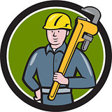 Plumber Holding Wrench Circle Cartoon