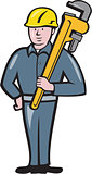 Plumber Holding Wrench Isolated Cartoon