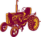 Vintage Farm Tractor Woodcut