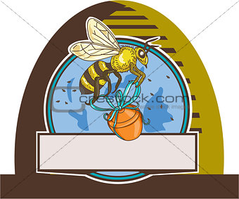 Bee Carrying Honey Pot Skep Circle Drawing