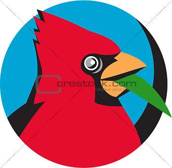 Cardinal Head Blade Grass Circle Retro