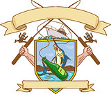 Fishing Rod Reel Hooking Blue Marlin Ribbon Coat of Arms Drawing