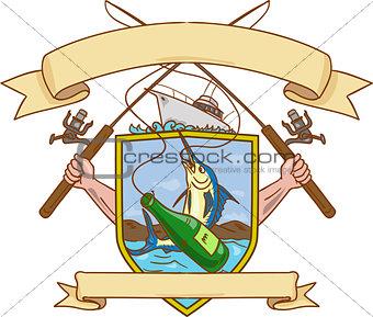 Fishing Rod Reel Hooking Blue Marlin Ribbon Coat of Arms Drawing