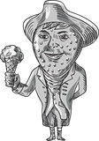 Strawberry Tricorn Hat Ice Cream Black and White Drawing