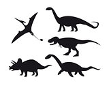Set of dinosaur silhouettes isolated on white background.