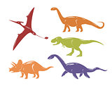 Set of colorful dinosaurs isolated on white background.