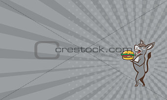 Business card Donkey Mascot Serving Hamburger Isolated Retro