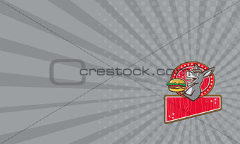 Business card Donkey Mascot Serve Burger Rectangle Retro