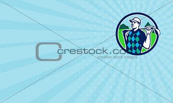 Business card Golfer Golf Club Shoulders Circle Retro
