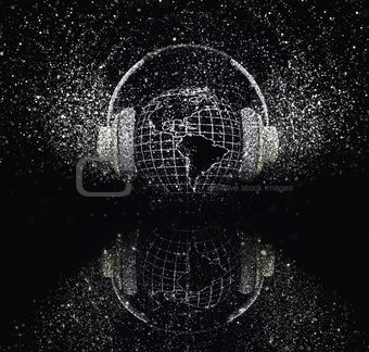 3D glitter globe with headphones