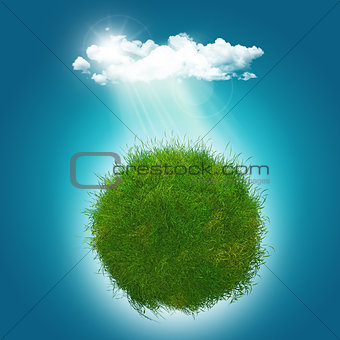 3D render of a grassy glboe