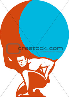 Atlas Carrying Globe Kneeling Retro