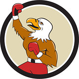 Bald Eagle Boxer Pumping Fist Circle Cartoon