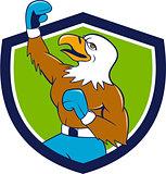 Bald Eagle Boxer Pumping Fist Crest Cartoon