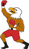 Bald Eagle Boxer Pumping Fist Cartoon
