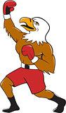 Bald Eagle Boxer Pumping Fist Cartoon