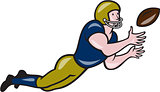 American Football Receiver Catching Ball Cartoon