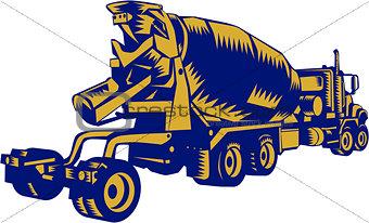 Cement Truck Rear Woodcut