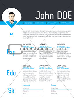 Modern resume cv template with photo pointer
