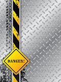 Abstract industrial background with tire tracks with danger text