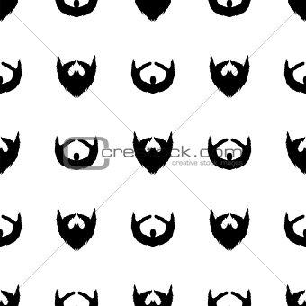 Beard Silhouette Seamless Pattern.