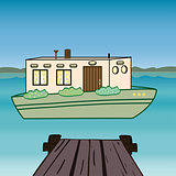 House water  houseboat floating river.
