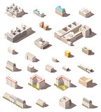 Vector isometric minimalistic low poly icon set or map infographic elements city buildings, homes and offices