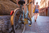 Retro bycicle on old Italian street.