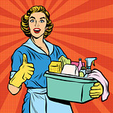 Quality home cleaning, pop art retro housewife
