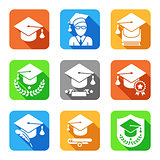 Education Flat Icons Set