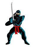 Illustration of ninja over white background