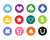 Gambling icons, casino icons, money icons, poker icons