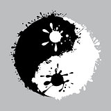 yin-yang with the ink dripping vector