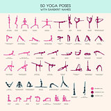 Yoga poses stick figure set