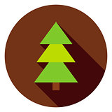 Coniferous Christmas Tree Circle Icon