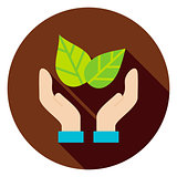 Hands Save the Planet Leaves Circle Icon