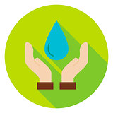Hands Save the Planet Water Circle Icon