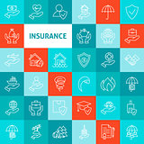 Vector Line Art Insurance Icons Set