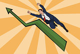 flying up businessman. The increase in business. Beautiful illustration in comic style