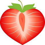 Vector illustration of strawberry in form heart