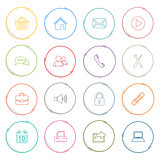 Collection colored atypical rounds thin line icons template