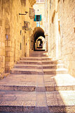 Israel, Jerusalem, stone streets. The tunnel with steps...