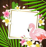 Summer frame with flamingo