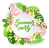 Summer banner with flamingo