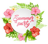 Summer banner with pink flowers