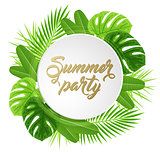Summer banner with green leaves