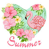 Pink tropical flowers and flamingo