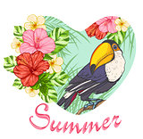 Pink tropical flowers and toucan