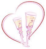Two wedding champagne glass in heart shape