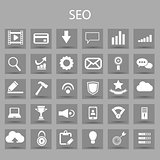 Vector flat icons set and graphic design elements. Illustration with SEO outline symbols.